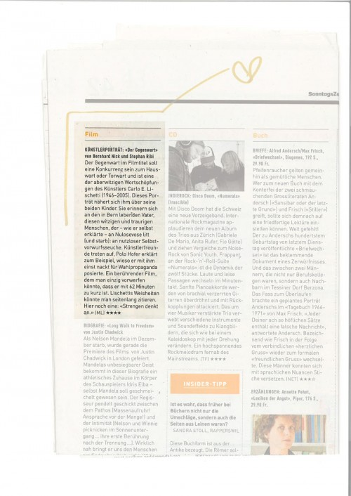 Sonntagszeitung, Kulturtipps vom 9.2.2014